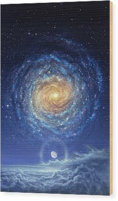 Galaxy Rising Wood Print by Don Dixon