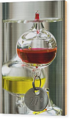 Wood Print featuring the photograph Galileo Thermometer by Jeremy Lavender Photography