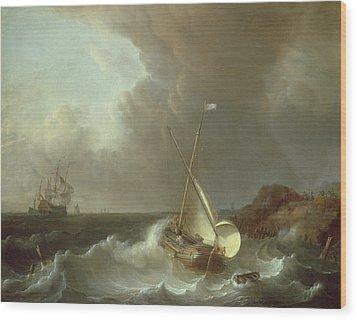 Galleon In Stormy Seas   Wood Print by Jan Claes Rietschoof