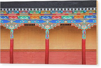 Wood Print featuring the photograph Gallery In A Buddhist Monastery by Alexey Stiop