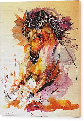 Galloping Horse Wood Print by Steven Ponsford