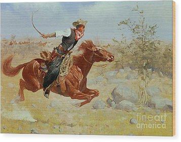 Galloping Horseman Wood Print by Frederic Remington