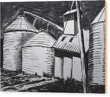 Galvanized Silos Waiting Wood Print by Charlie Spear