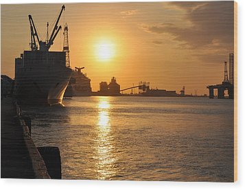 Wood Print featuring the photograph Galveston Harbor by John Collins