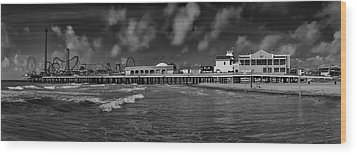 Wood Print featuring the photograph Galveston Pleasure Pier Black And White by Joshua House