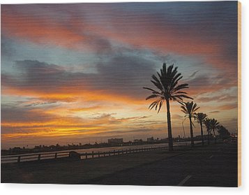 Galveston Sunrise Wood Print by Robert Anschutz