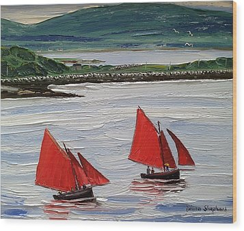 Galway Hookers Sailing By Roundstone Harbour Connemara Ireland Wood Print