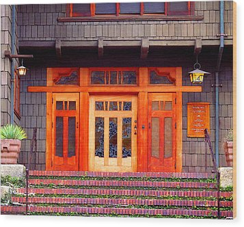 Gamble House Entry Wood Print by Timothy Bulone