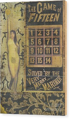 Wood Print featuring the mixed media Game Of Fifteen by Desiree Paquette