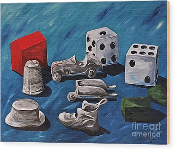 Game Pieces Wood Print by Herschel Fall