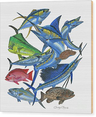 Gamefish Collage Wood Print