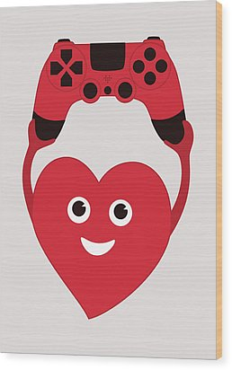 Gamer Heart Wood Print