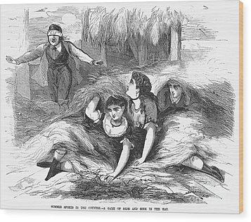 Games: Hide And Seek, 1887 Wood Print by Granger