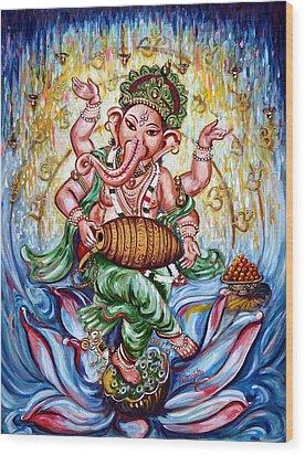 Ganesha Dancing And Playing Mridang Wood Print
