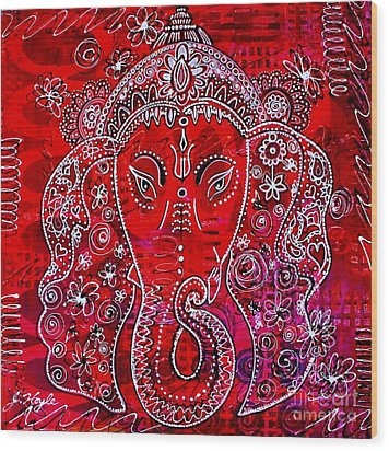 Ganesha Wood Print by Julie Hoyle