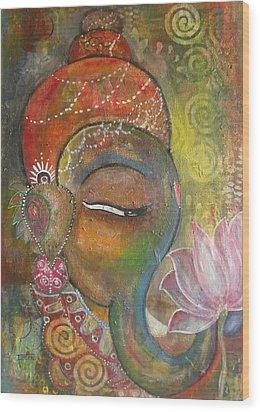 Ganesha With A Pink Lotus Wood Print