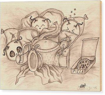 Ganesha's Day Off Wood Print by Coriander  Shea
