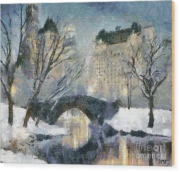 Gapstow Bridge In Snow Wood Print by Dragica  Micki Fortuna