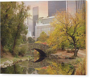 Wood Print featuring the photograph Gapstow Bridge Reflections by Jessica Jenney