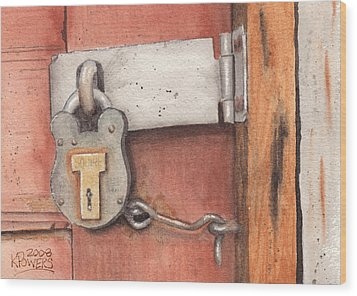 Garage Lock Number Four Wood Print by Ken Powers