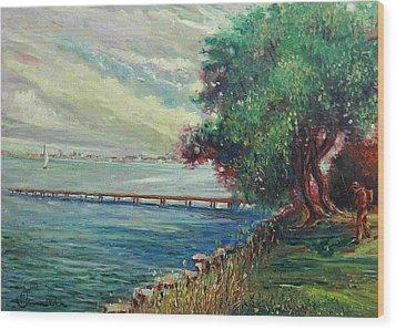 Wood Print featuring the painting Garda Lake -lago Garda by Walter Casaravilla