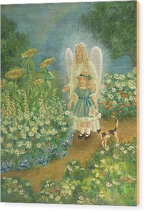 Garden Angel Wood Print