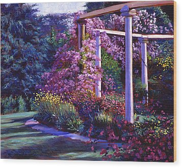 Garden Arbor Wood Print by David Lloyd Glover