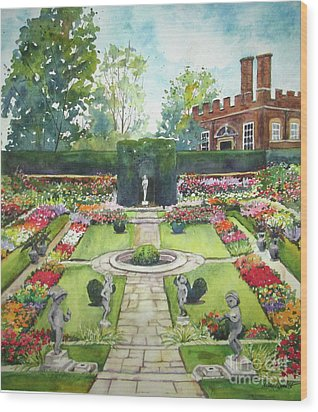 Wood Print featuring the painting Garden At Hampton Court Palace by Susan Herbst