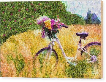 Garden Bicycle Print Wood Print