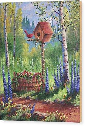Garden Birdhouse Wood Print by David G Paul