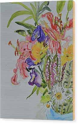 Wood Print featuring the painting Garden Bouquet by Beverley Harper Tinsley