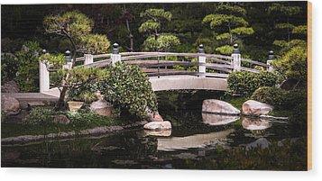 Garden Bridge Wood Print