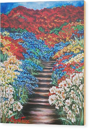 Wood Print featuring the painting Garden Cascade by Sigrid Tune