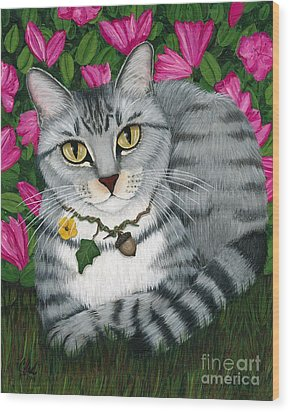 Wood Print featuring the painting Garden Cat - Silver Tabby Cat Azaleas by Carrie Hawks