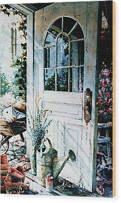 Garden Chores Wood Print by Hanne Lore Koehler