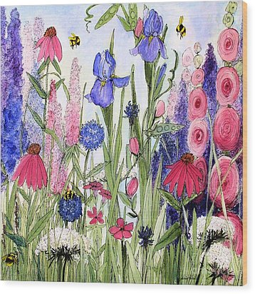 Garden Cottage Iris And Hollyhock Wood Print