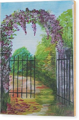 Wood Print featuring the painting Garden Entrance by Trilby Cole