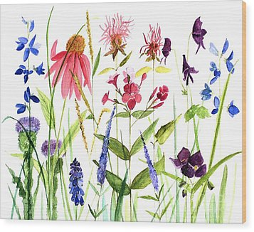 Wood Print featuring the painting Garden Flowers by Laurie Rohner