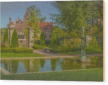 Garden Fountain At Ames Free Library Wood Print