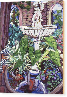 Garden Fountain Wood Print