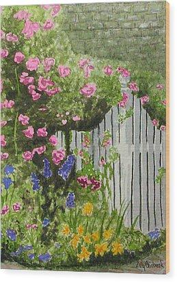 Garden Gate Wood Print by Ally Benbrook