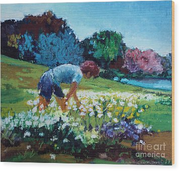 Wood Print featuring the painting Garden Girl by Diane Ursin
