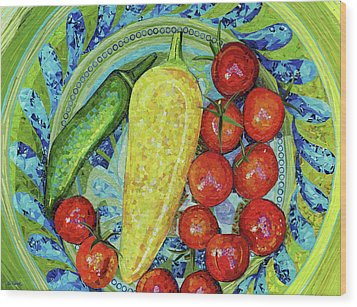 Wood Print featuring the mixed media Garden Harvest by Shawna Rowe