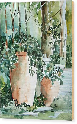 Garden In Capri Wood Print by Mindy Newman