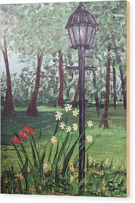 Wood Print featuring the painting Garden Light by Debbie Baker