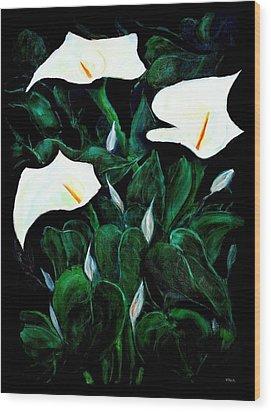Garden Lilies Wood Print