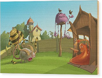 Garden Monsters Wood Print by Andy Catling