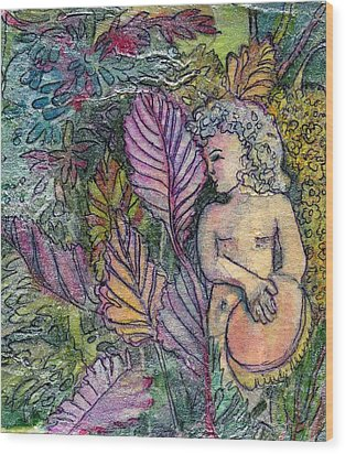 Garden Muse Wood Print by Mindy Newman
