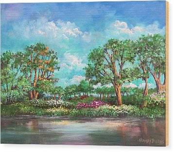 Wood Print featuring the painting  Summer In The Garden Of Eden by Randol Burns