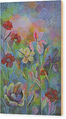 Garden Of Intention - Triptych Center Panel Wood Print by Shadia Derbyshire
